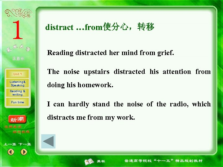 distract …from使分心,转移 Reading distracted her mind from grief. Unit 1 Listening& Speaking The noise