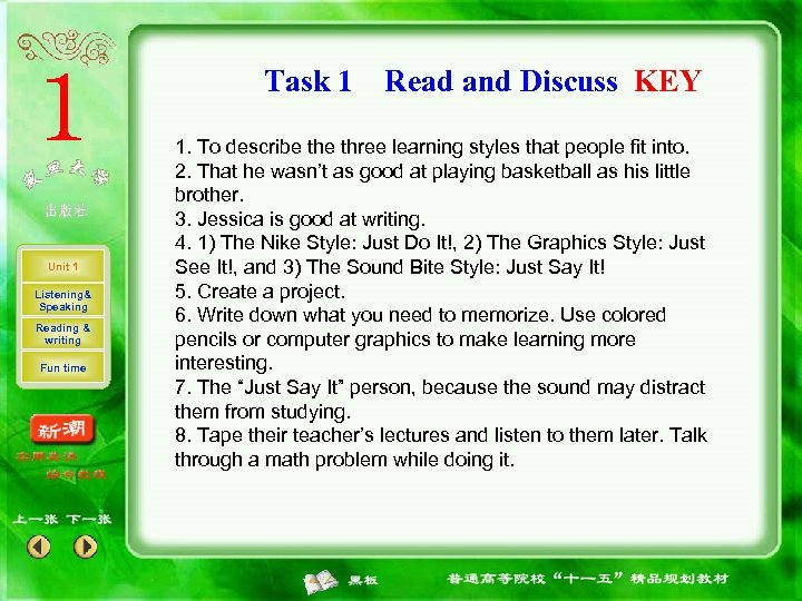 Task 1 Unit 1 Listening& Speaking Reading & writing Fun time Read and Discuss