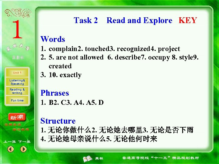 Task 2 Read and Explore KEY Words Unit 1 Listening& Speaking Reading & writing