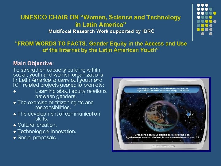 """UNESCO CHAIR ON """"Women, Science and Technology in Latin America"""" Multifocal Research Work supported"""