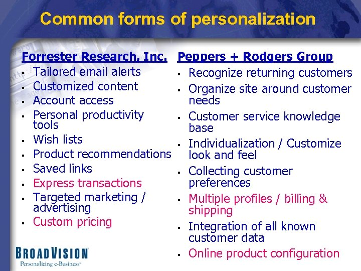 Common forms of personalization Forrester Research, Inc. Peppers + Rodgers Group § Tailored email