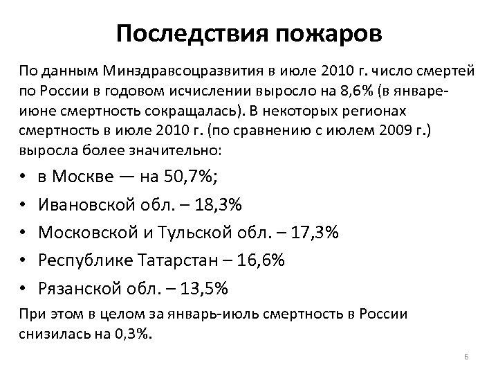 Последствия пожаров По данным Минздравсоцразвития в июле 2010 г. число смертей по России в
