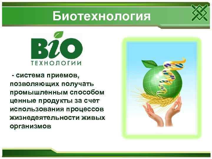 Биотехнология - система приемов, позволяющих получать промышленным способом ценные продукты за счет использования процессов