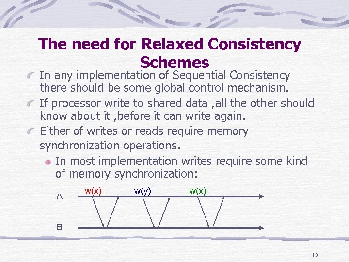 The need for Relaxed Consistency Schemes In any implementation of Sequential Consistency there should