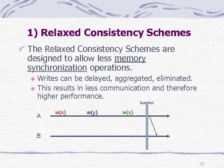 1) Relaxed Consistency Schemes The Relaxed Consistency Schemes are designed to allow less memory