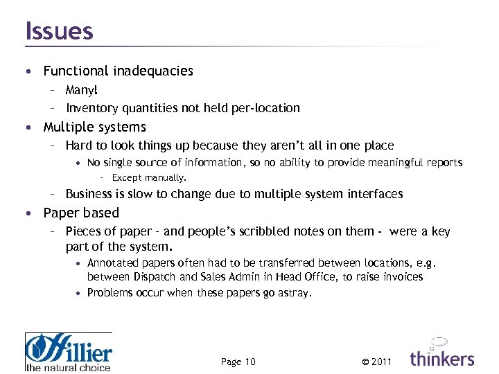 Issues • Functional inadequacies – Many! – Inventory quantities not held per-location • Multiple