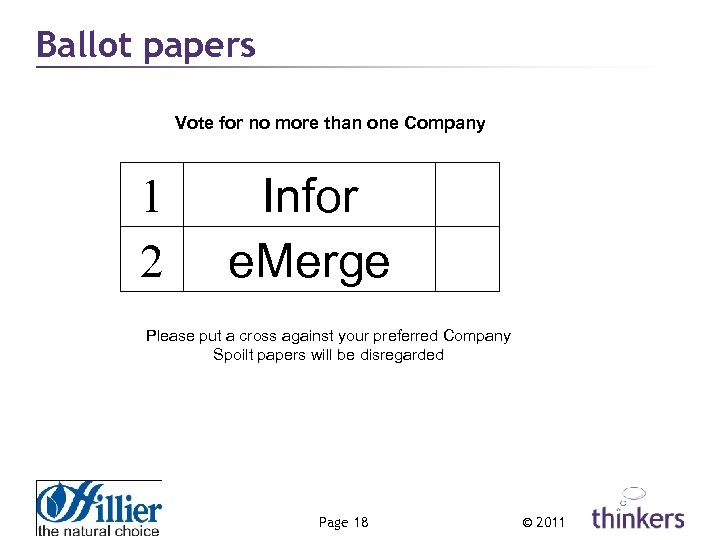 Ballot papers Vote for no more than one Company 1 2 Infor e. Merge