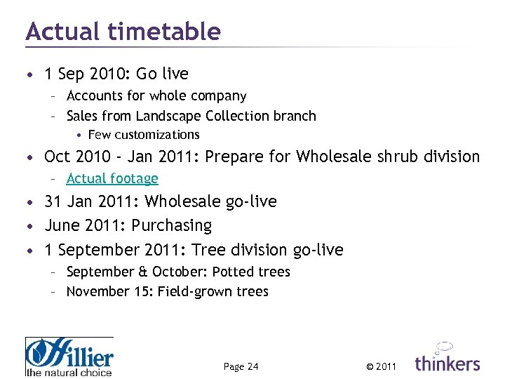 Actual timetable • 1 Sep 2010: Go live – Accounts for whole company –