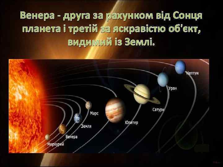 Венера - друга за рахунком від Сонця планета і третій за яскравістю об'єкт, видимий