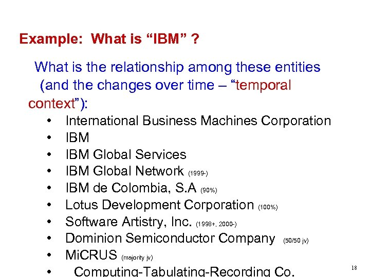 """Example: What is """"IBM"""" ? What is the relationship among these entities (and the"""