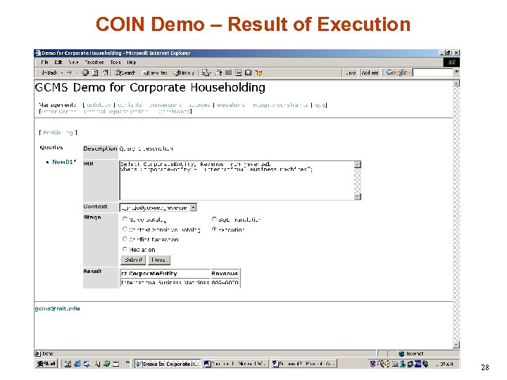 COIN Demo – Result of Execution 28