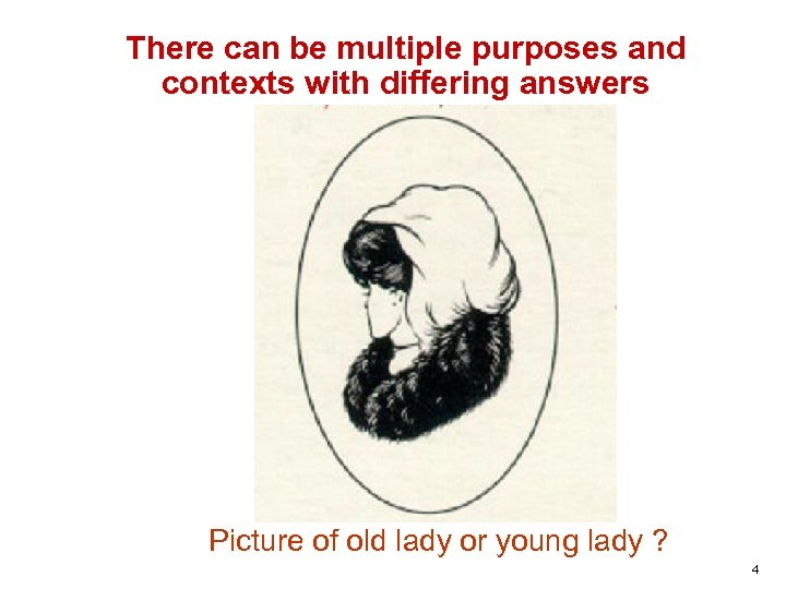 There can be multiple purposes and contexts with differing answers Picture of old lady