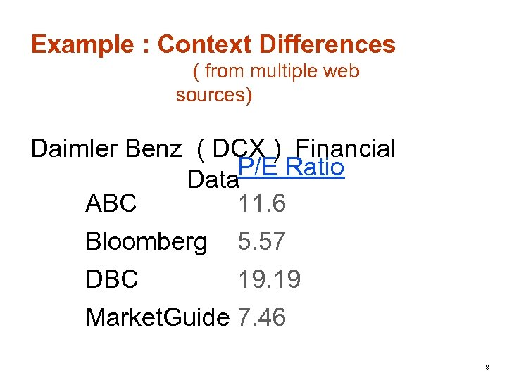 Example : Context Differences ( from multiple web sources) Daimler Benz ( DCX )