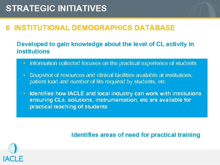 STRATEGIC INITIATIVES 6 INSTITUTIONAL DEMOGRAPHICS DATABASE Developed to gain knowledge about the level of