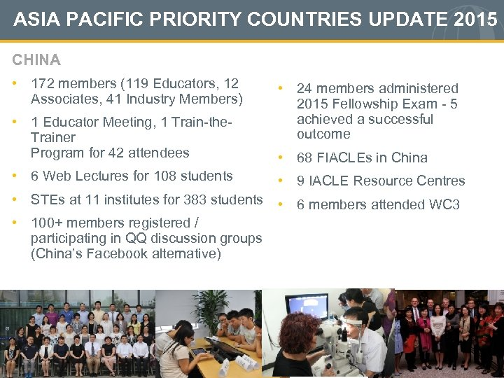 ASIA PACIFIC PRIORITY COUNTRIES UPDATE 2015 CHINA • 172 members (119 Educators, 12 Associates,