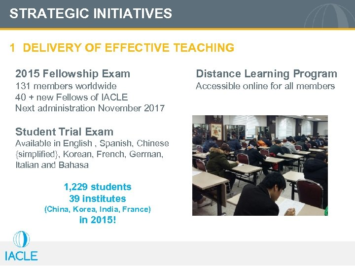 STRATEGIC INITIATIVES 1 DELIVERY OF EFFECTIVE TEACHING 2015 Fellowship Exam Distance Learning Program 131