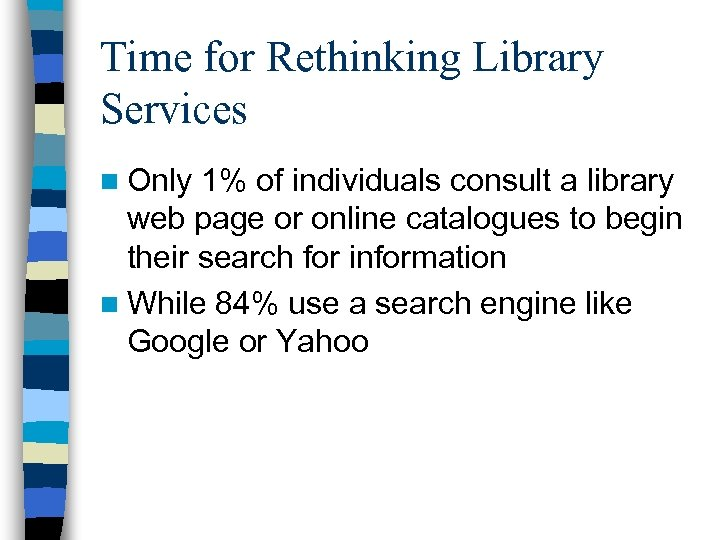 Time for Rethinking Library Services n Only 1% of individuals consult a library web