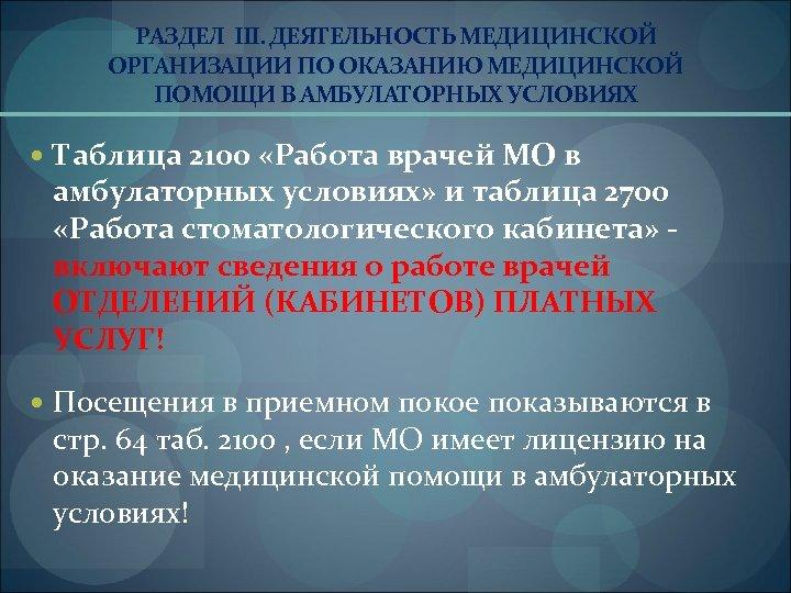 РАЗДЕЛ III. ДЕЯТЕЛЬНОСТЬ МЕДИЦИНСКОЙ ОРГАНИЗАЦИИ ПО ОКАЗАНИЮ МЕДИЦИНСКОЙ ПОМОЩИ В АМБУЛАТОРНЫХ УСЛОВИЯХ Таблица 2100