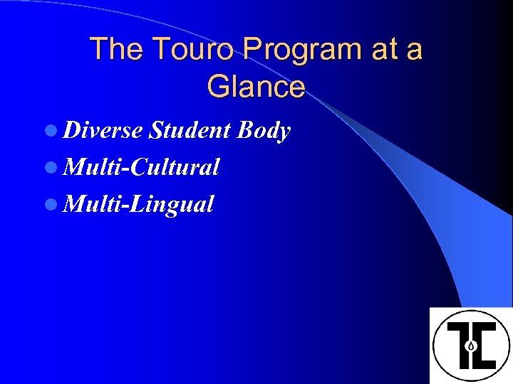 The Touro Program at a Glance l Diverse Student Body l Multi-Cultural l Multi-Lingual