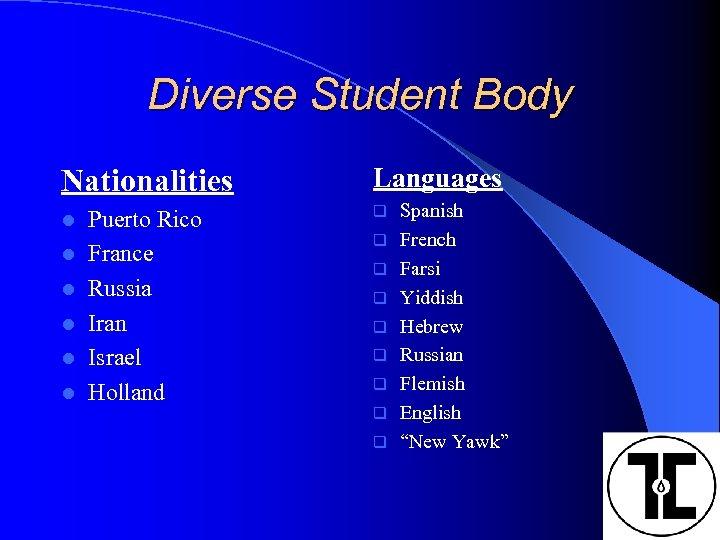 Diverse Student Body Nationalities l l l Puerto Rico France Russia Iran Israel Holland