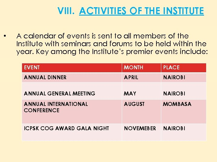 VIII. ACTIVITIES OF THE INSTITUTE • A calendar of events is sent to all