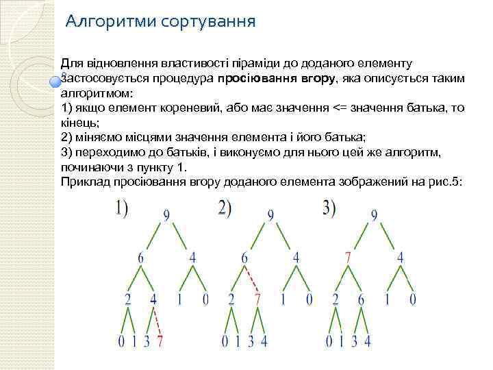 Алгоритми сортування Для відновлення властивості піраміди до доданого елементу застосовується процедура просіювання вгору, яка