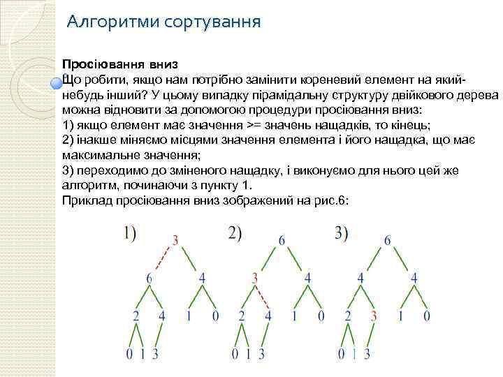 Алгоритми сортування Просіювання вниз Що робити, якщо нам потрібно замінити кореневий елемент на якийнебудь
