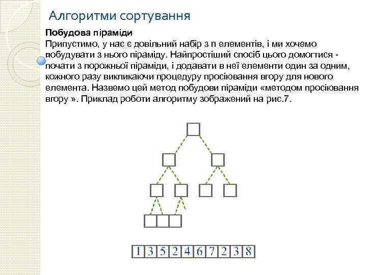 Алгоритми сортування Побудова піраміди Припустимо, у нас є довільний набір з n елементів, і