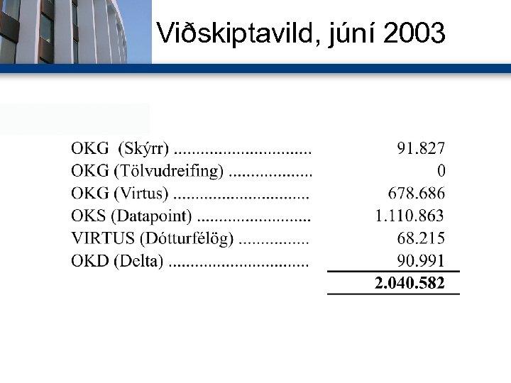 Viðskiptavild, júní 2003