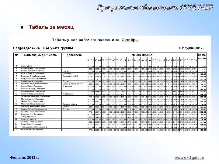 n Табель за месяц Февраль 2013 г. www. skd-gate. ru