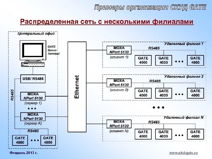 Распределенная сеть с несколькими филиалами Февраль 2013 г. www. skd-gate. ru