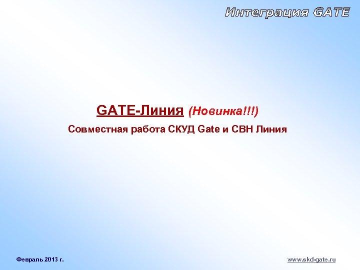 GATE-Линия (Новинка!!!) Совместная работа СКУД Gate и СВН Линия Февраль 2013 г. www. skd-gate.