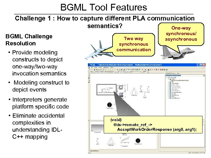BGML Tool Features Challenge 1 : How to capture different PLA communication semantics? One-way