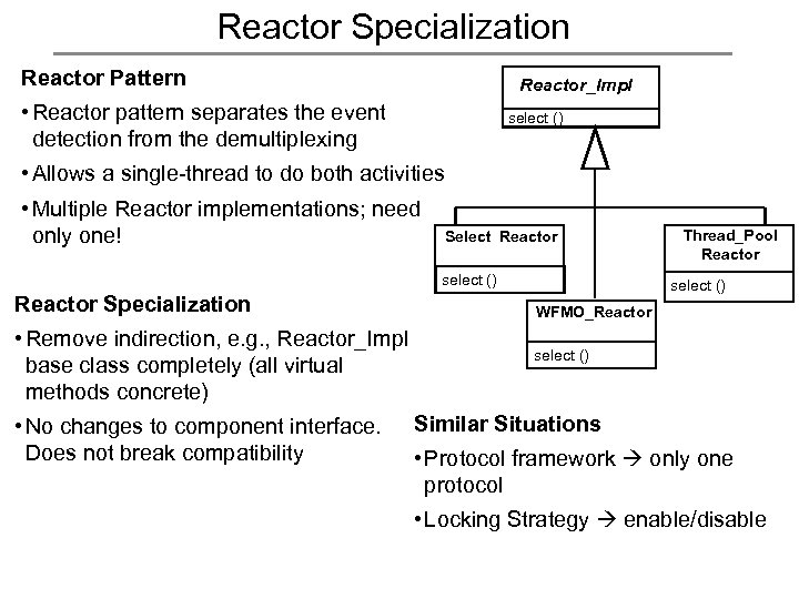 Reactor Specialization Reactor Pattern Reactor_Impl • Reactor pattern separates the event detection from the