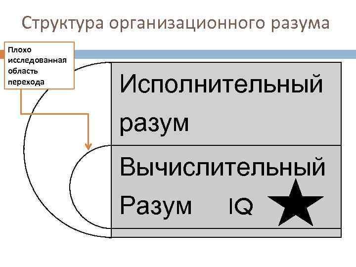 Структура организационного разума Плохо исследованная область перехода Исполнительный разум Вычислительный Разум IQ