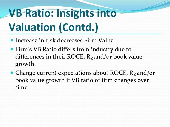 VB Ratio: Insights into Valuation (Contd. ) Increase in risk decreases Firm Value. Firm's