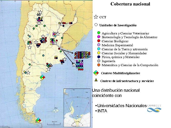 Cobertura nacional CCT Unidades de Investigación Agricultura y Ciencias Veterinarias Biotecnología y Tecnología de