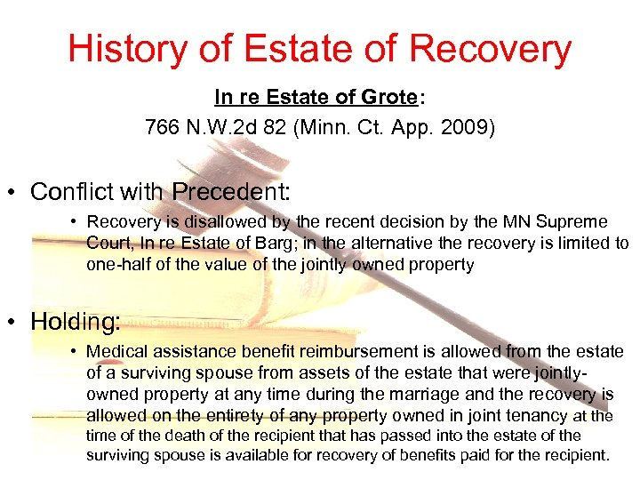 History of Estate of Recovery In re Estate of Grote: 766 N. W. 2
