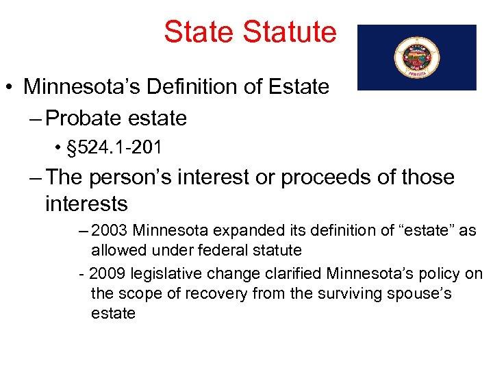 State Statute • Minnesota's Definition of Estate – Probate estate • § 524. 1
