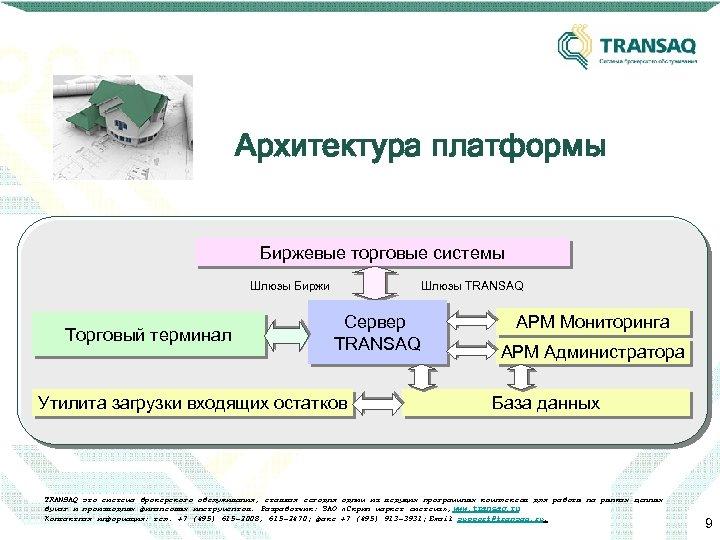 Архитектура платформы Биржевые торговые системы Шлюзы Биржи Шлюзы TRANSAQ Торговый терминал Сервер TRANSAQ Утилита