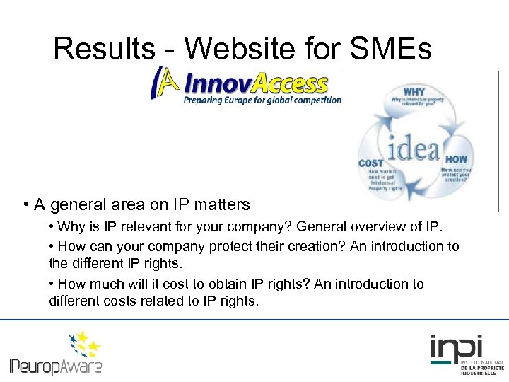 Results - Website for SMEs • A general area on IP matters • Why