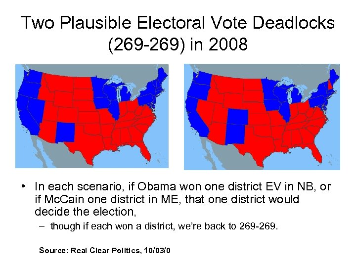Two Plausible Electoral Vote Deadlocks (269 -269) in 2008 • In each scenario, if