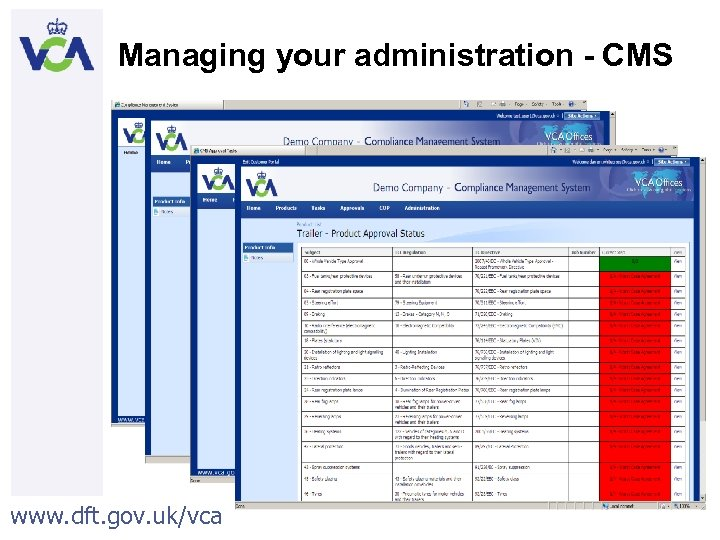 Managing your administration - CMS www. dft. gov. uk/vca 46