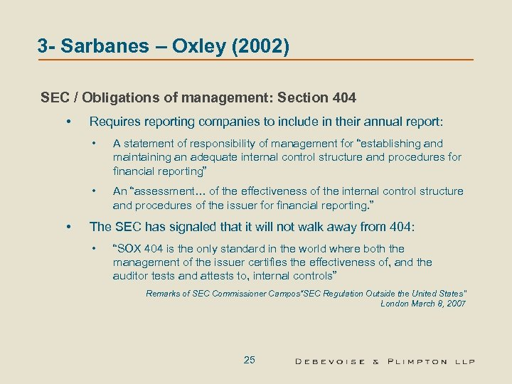 acc 561 regulatory environment of sarbanes oxley Sarbanes-oxley act, avoiding future frauds acc/561 sarbanes-oxley act, avoiding future frauds is regulatory environment good for business seems to be such a simple question, but the answer is sure to have individuals with a stake in the outcome standing on both sides of the fence advocating.