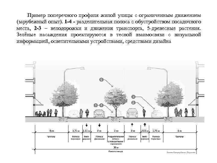 Пример поперечного профиля жилой улицы с ограниченным движением (зарубежный опыт). 1 -4 - разделительная