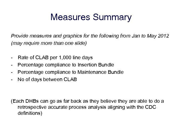 Measures Summary Provide measures and graphics for the following from Jan to May 2012