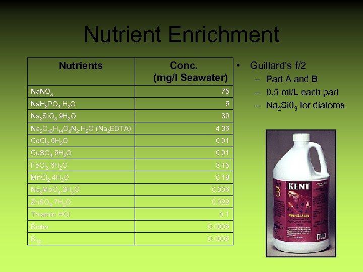 Nutrient Enrichment Nutrients Na. NO 3 Conc. • Guillard's f/2 (mg/l Seawater) – Part