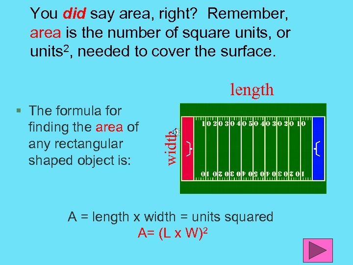 You did say area, right? Remember, area is the number of square units, or