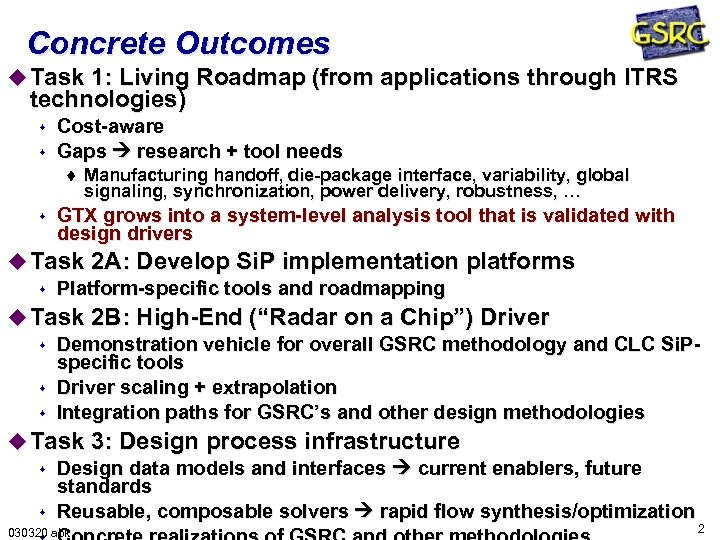 Concrete Outcomes u Task 1: Living Roadmap (from applications through ITRS technologies) s s