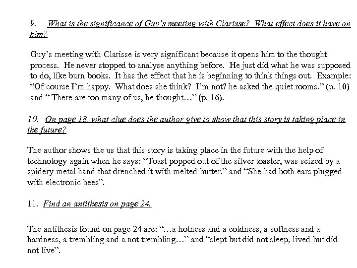 9. What is the significance of Guy's meeting with Clarisse? What effect does it